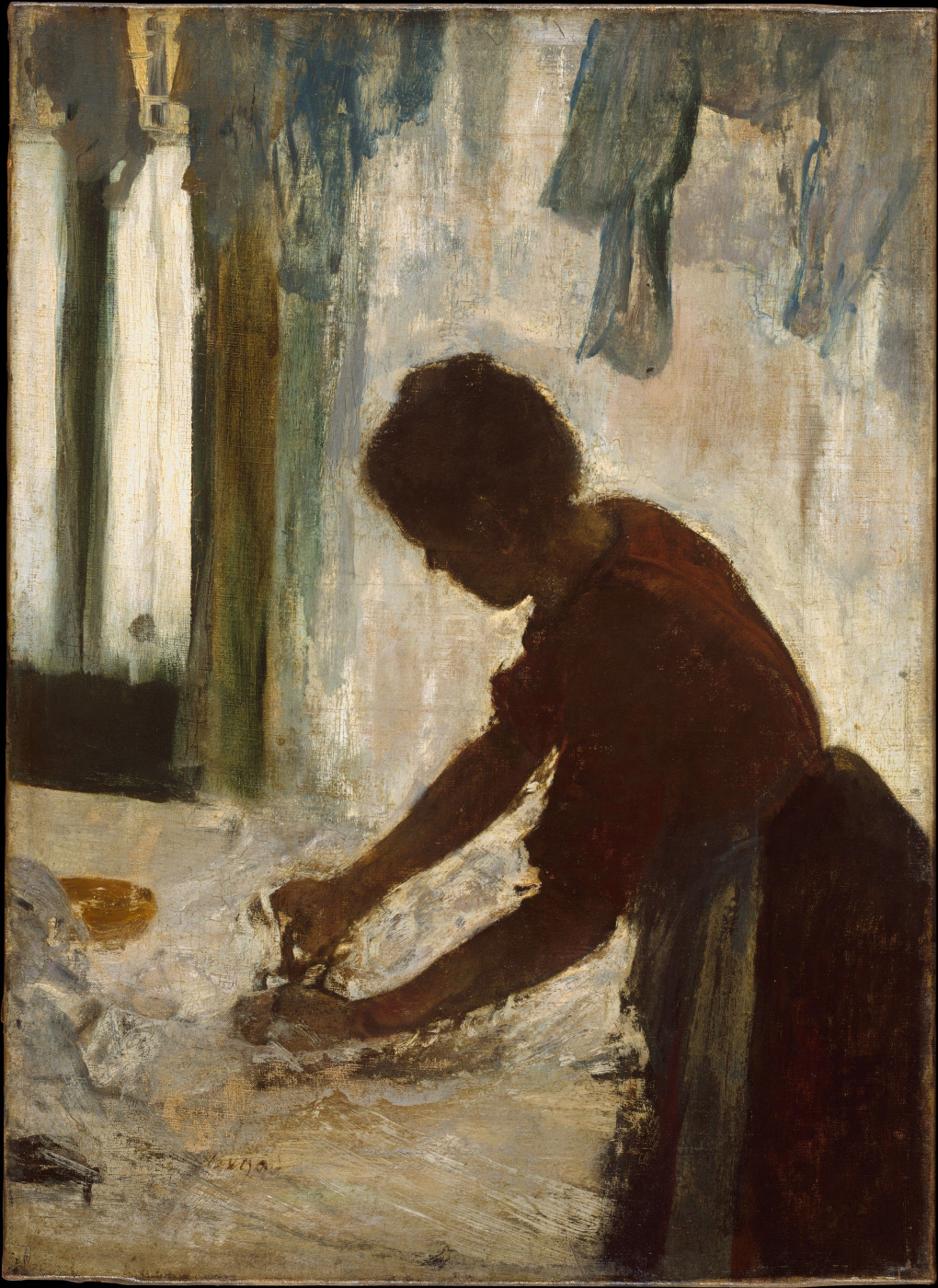 Edgar Degas. The woman, patting the clothes (Laundress. Silhouette)