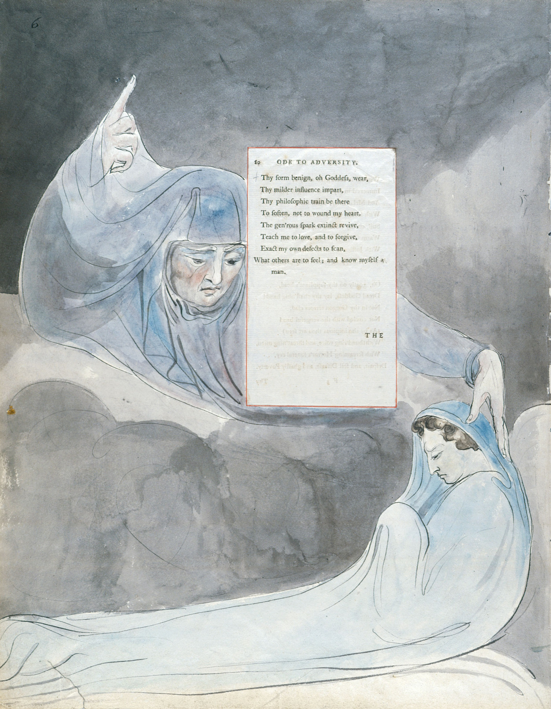 William Blake. Illustrations to the poems. Ode to misfortune. Sheet 6