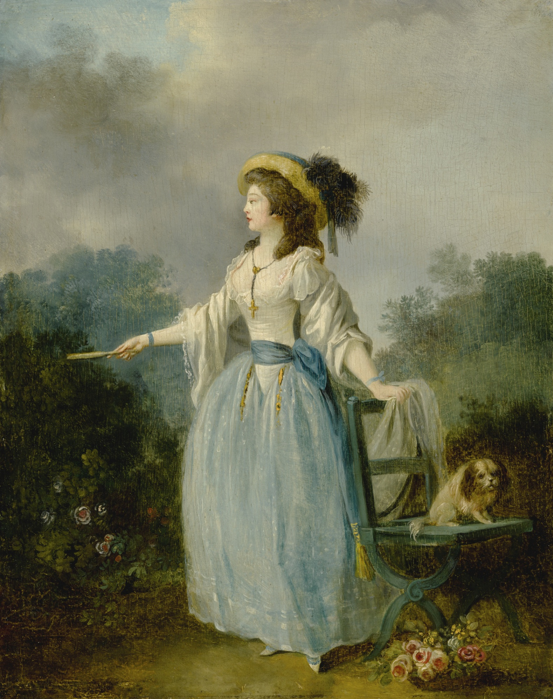 Jean-Frederick Schall. Lady with a dog in the garden