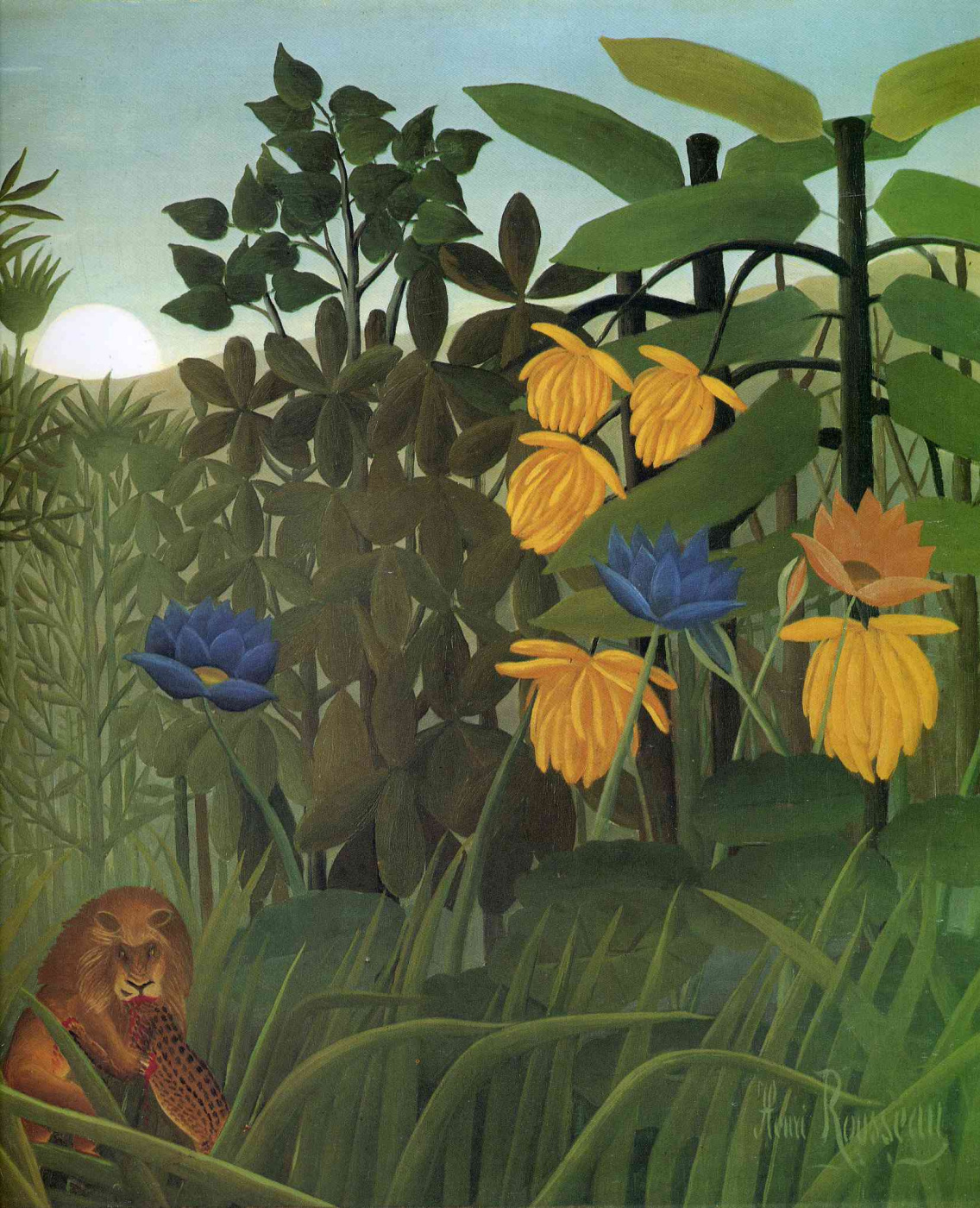 Henri Rousseau. The meal of a lion. Fragment