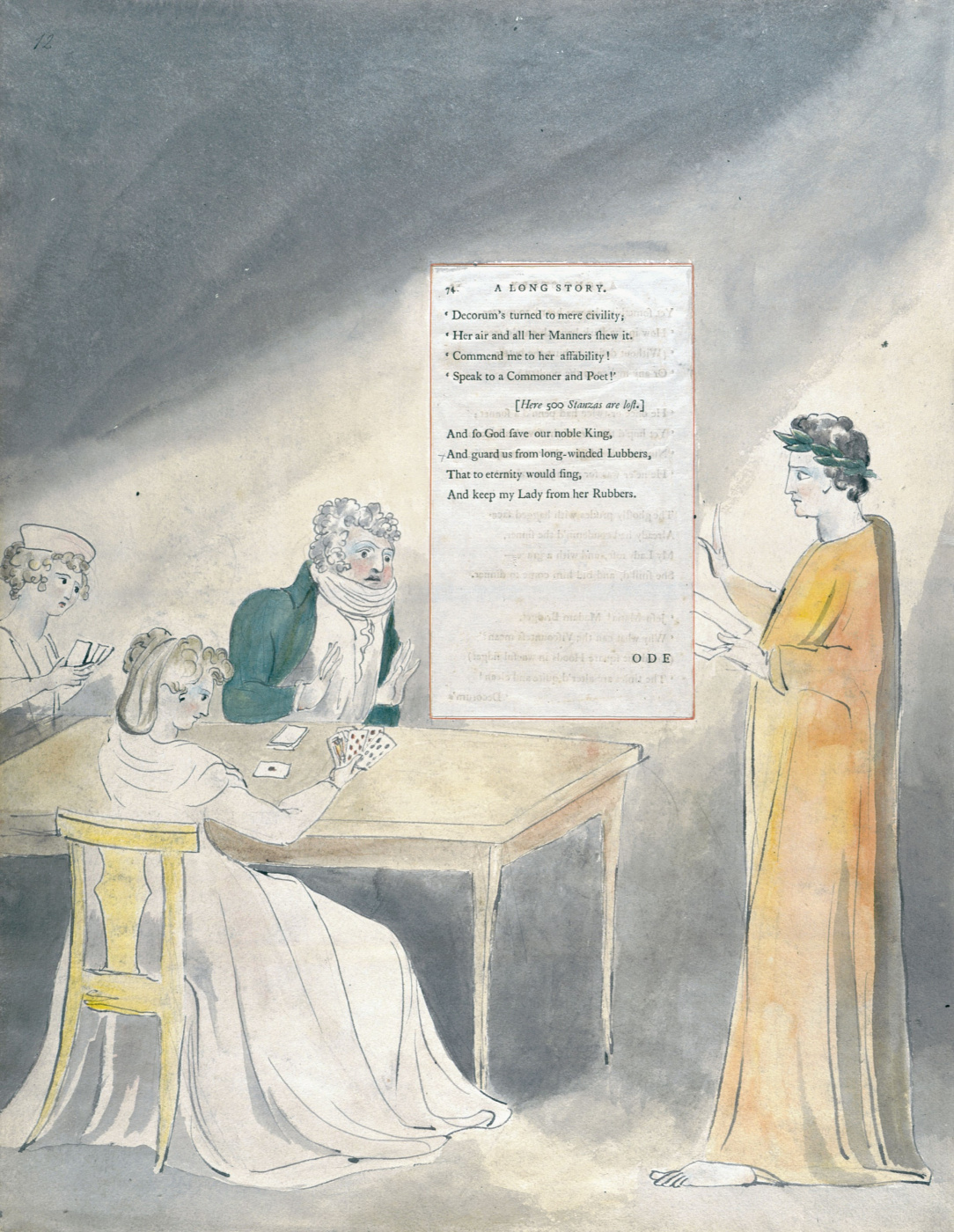 William Blake. Illustrations to the poems. Long story. Sheet 12