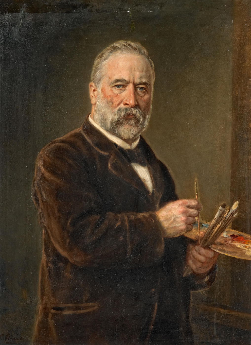 Ludwig Knaus. Self portrait with palette
