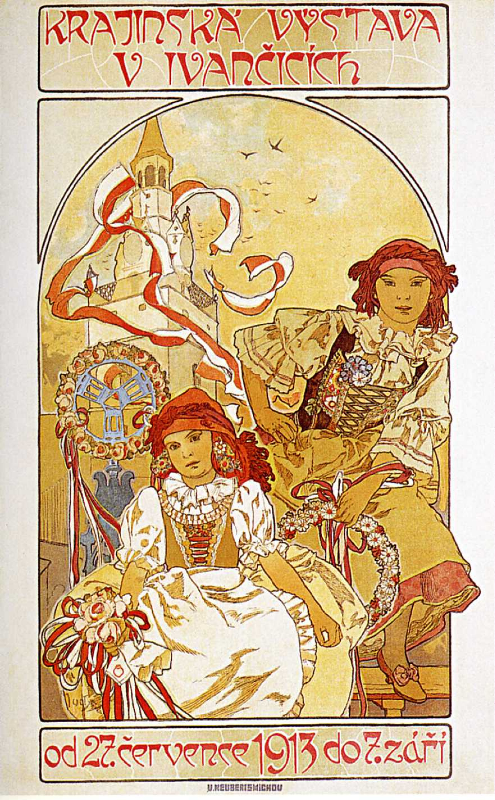 Alfons Mucha. Advertising poster for Regional exhibition at Ivančice