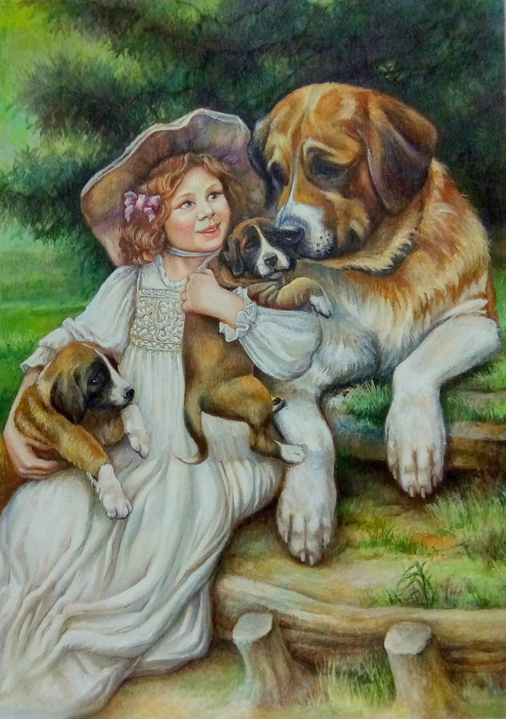 Marina. Copy. The Artist Arthur John Also. Girl with dog and puppies.