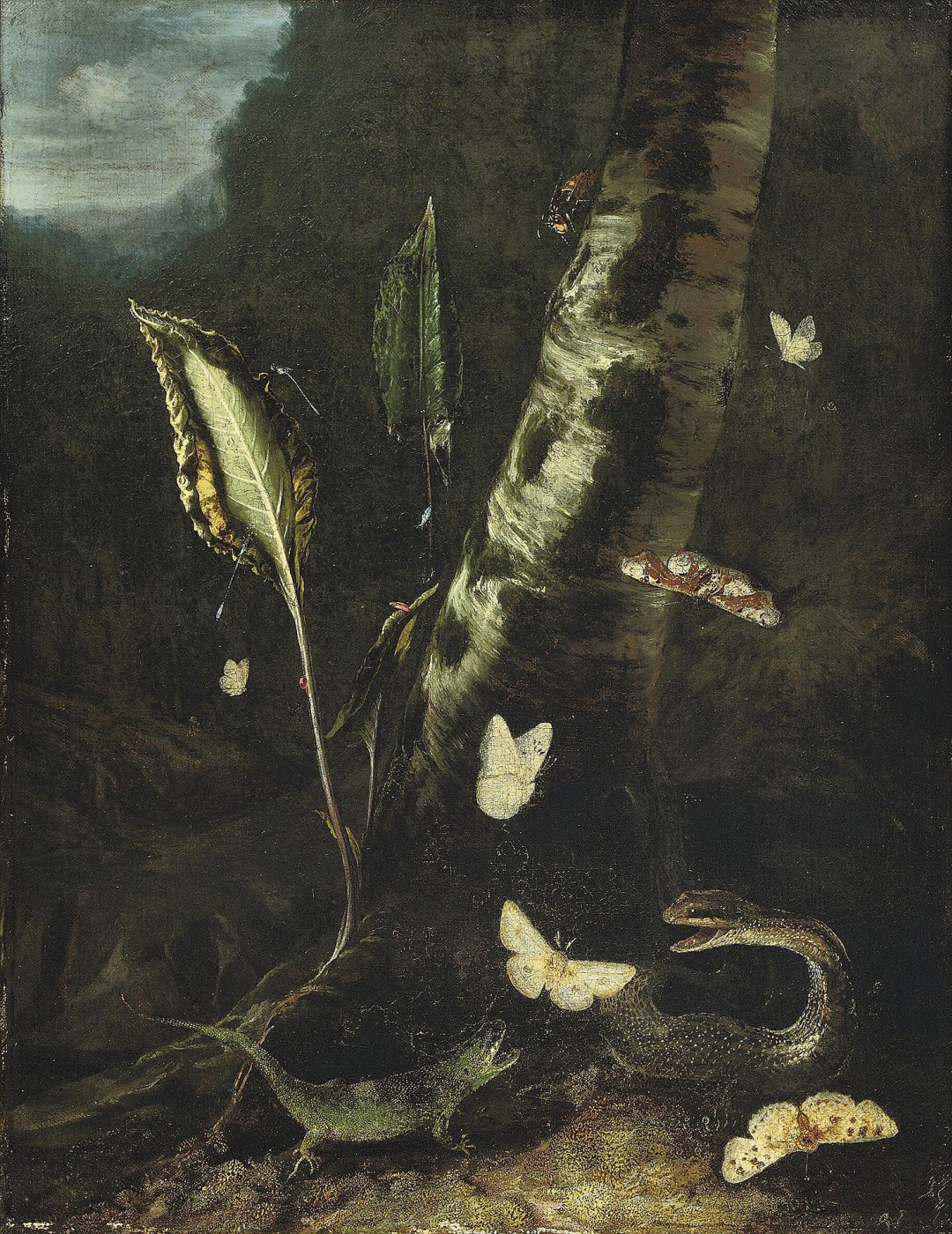 Otto Marceus van Scriec. Forest still life with a lizard, a snake and butterflies