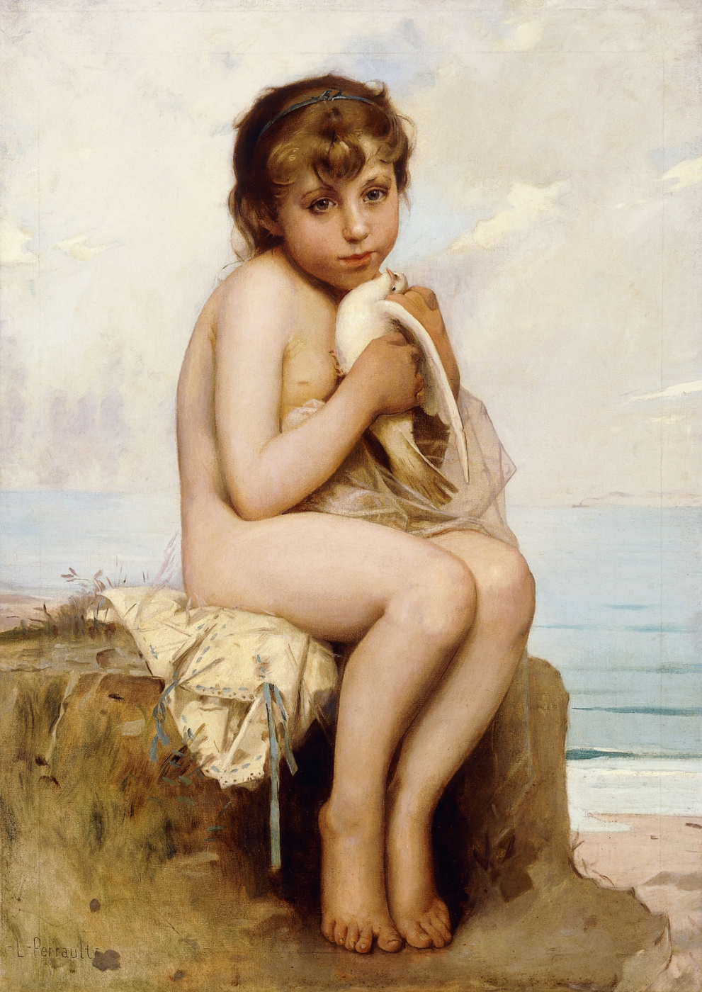 Leon Basile Perrot France 1832-1908. Nude girl with a dove.