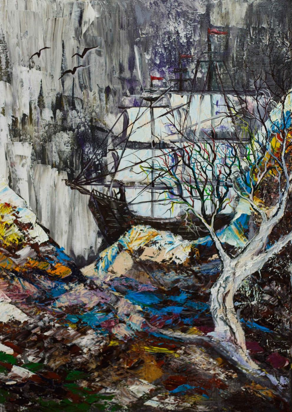"Alla Struchayeva. Painting ""Flying Dutchman"""