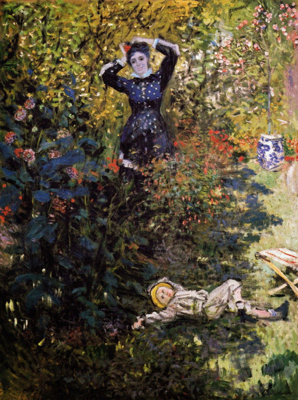 Claude Monet. Camille and Jean Monet in the garden at Argenteuil