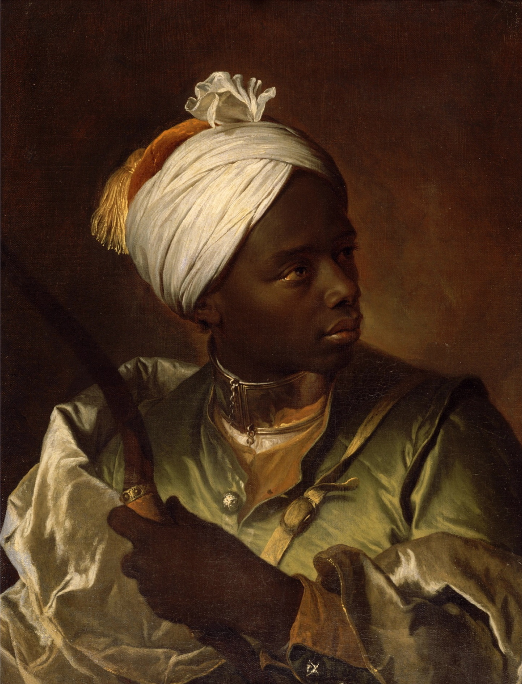 Hyacinth Rigo. Portrait of a dark-skinned young man with a bow