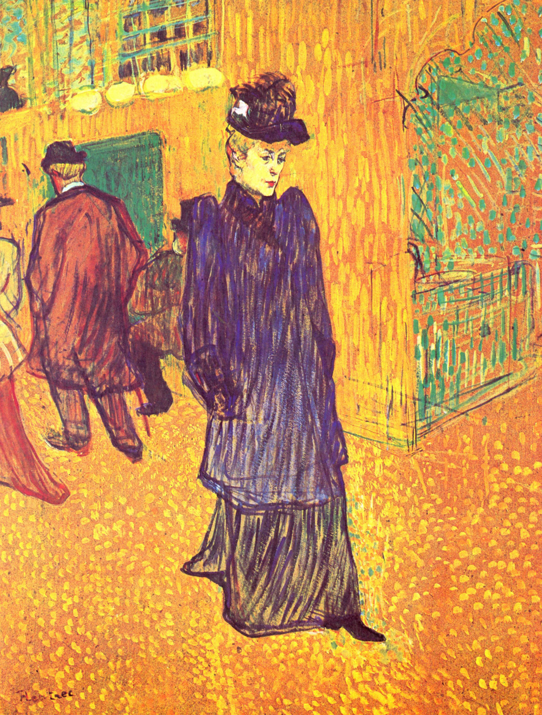 "Henri de Toulouse-Lautrec. Jane avril leaving the ""Moulin Rouge"""