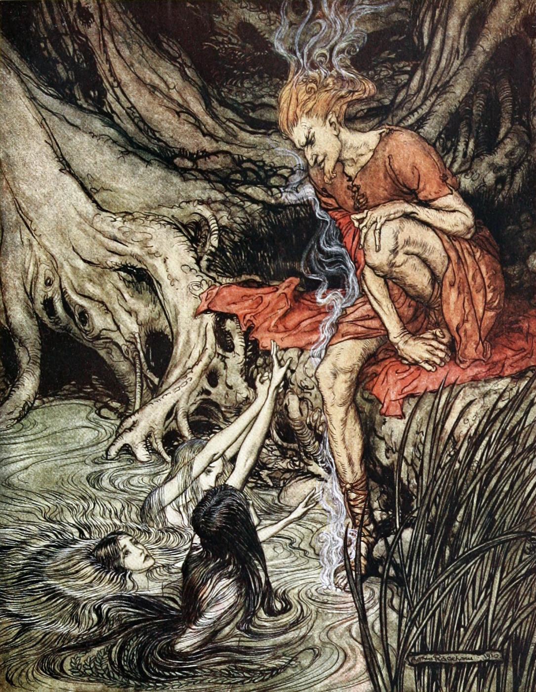 Arthur Rackham. The Rhine maidens ask for the help of God Loki