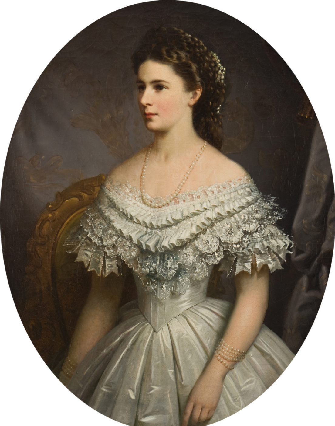 Unknown artist. Elizabeth of Bavaria in a pearl necklace