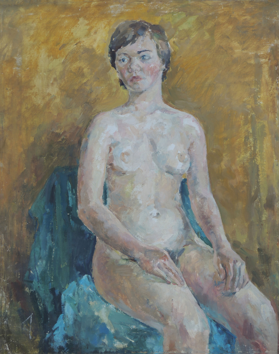 Alexandrovich Rudolf Pavlov. Nude on yellow blue.