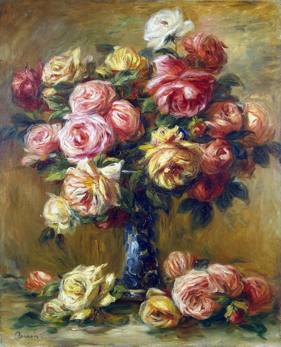 Pierre-Auguste Renoir. Roses in a vase