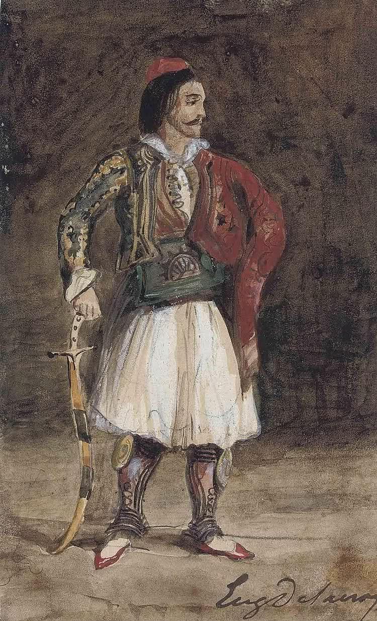 Eugene Delacroix. Standing man in the Greek costume