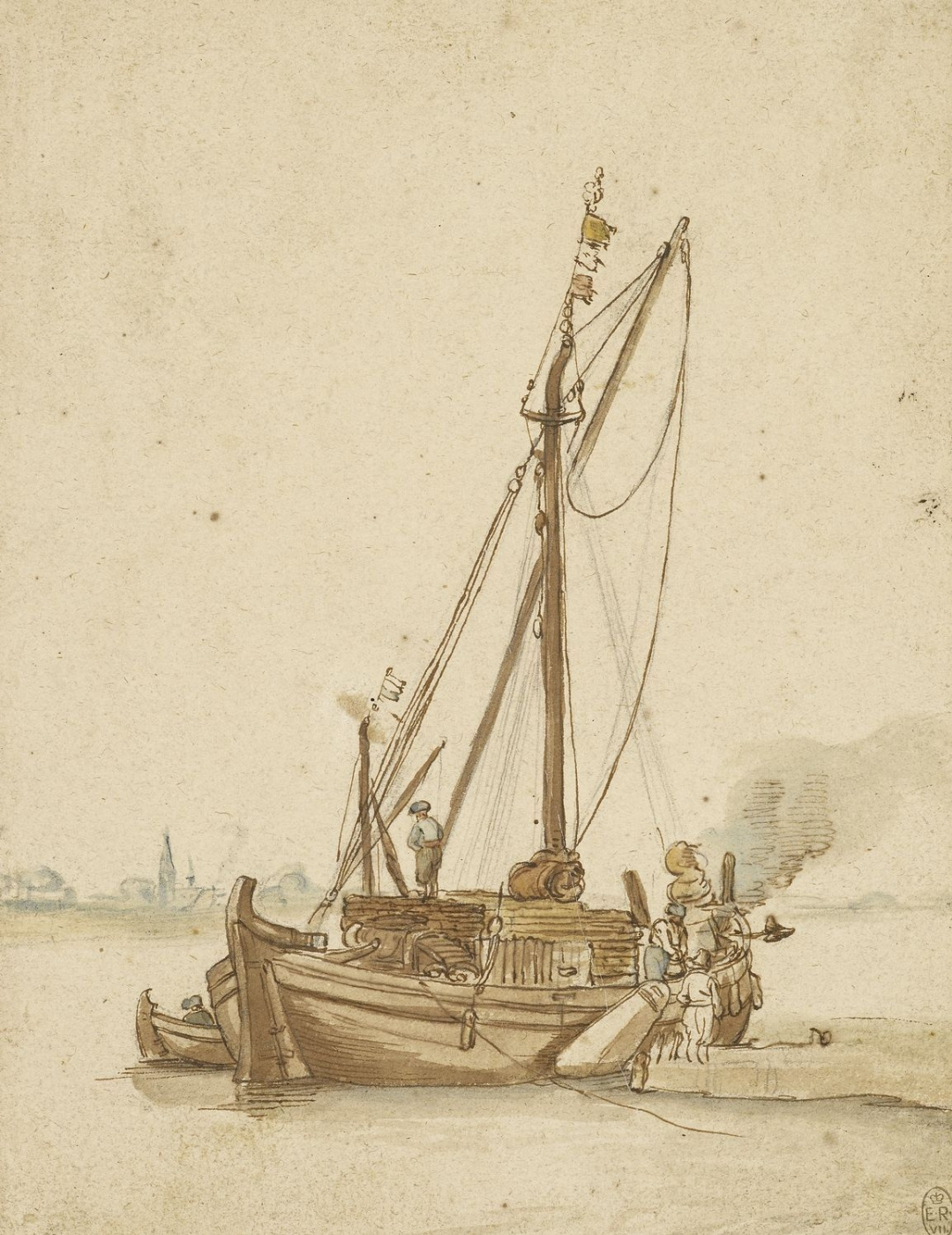 Hendrik Avercamp. Sailing barge, moored on the river