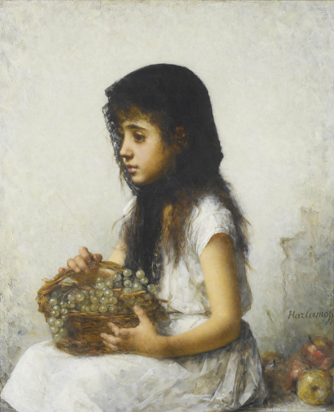 Alexey Alekseevich Kharlamov. Girl with grapes.