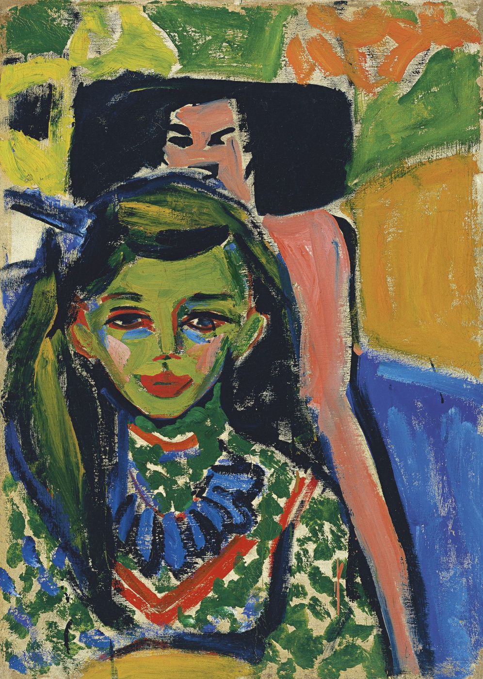 Ernst Ludwig Kirchner. Franzi in front of the carved chair