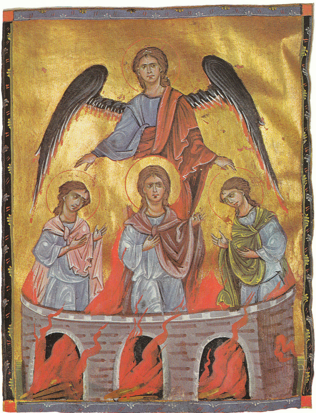 Toros Roslin. Archangel Michael and three youths in the fiery cave