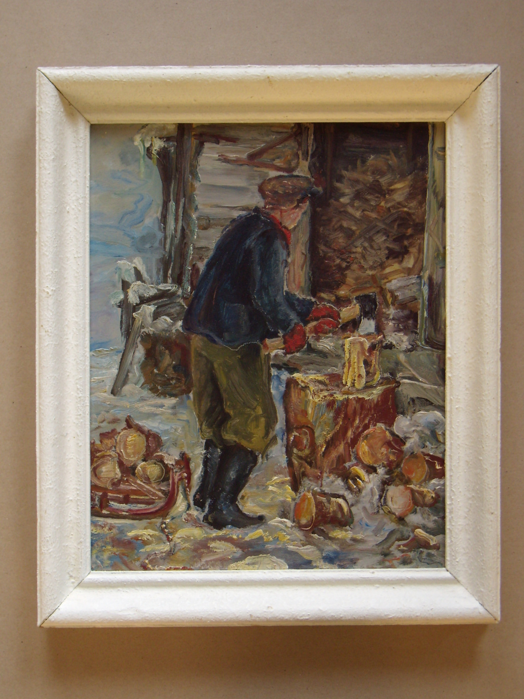 Unknown artist. Man chopping the wood stock.
