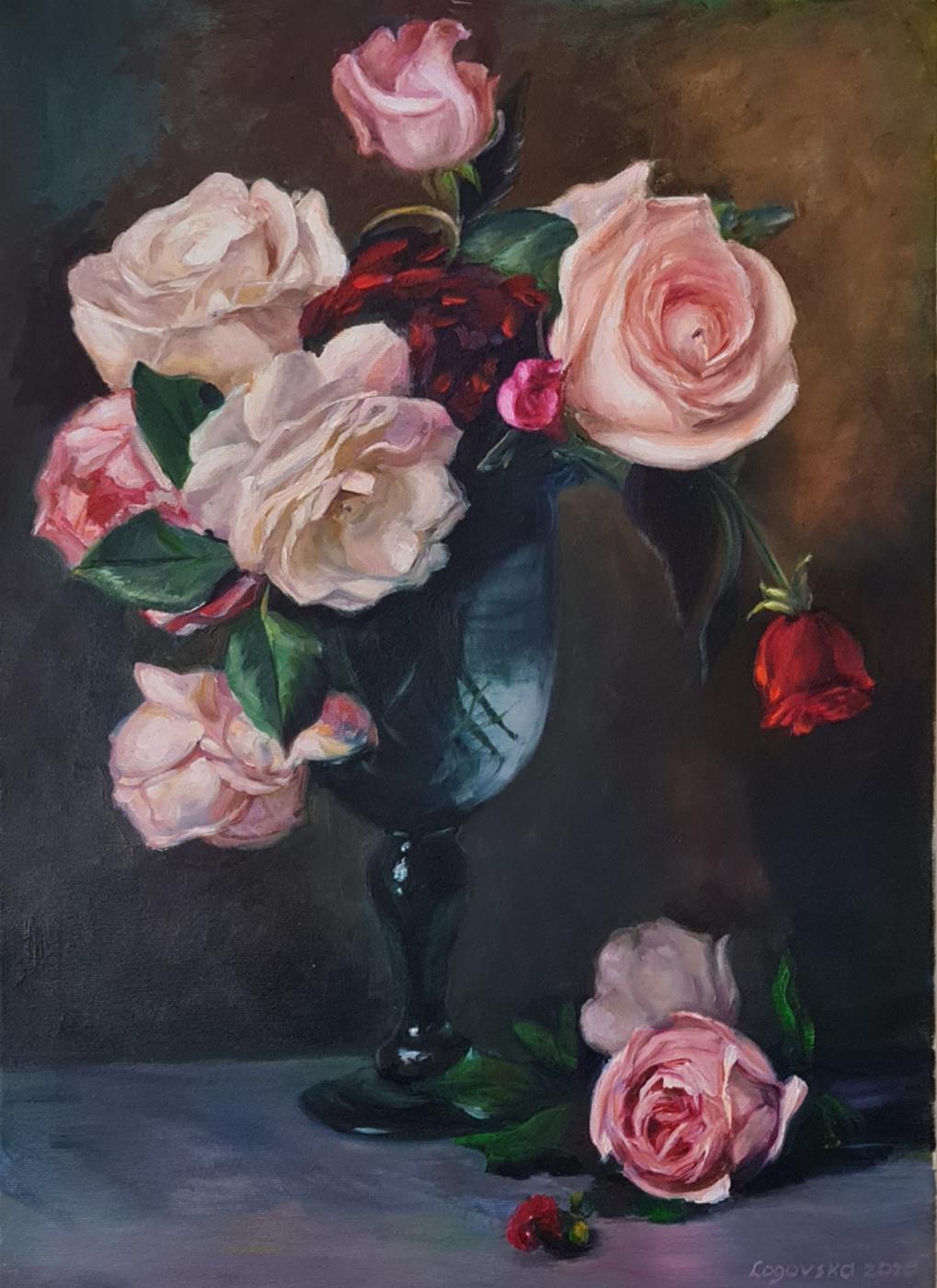 Snezana Logovska. Rose in a glass vase