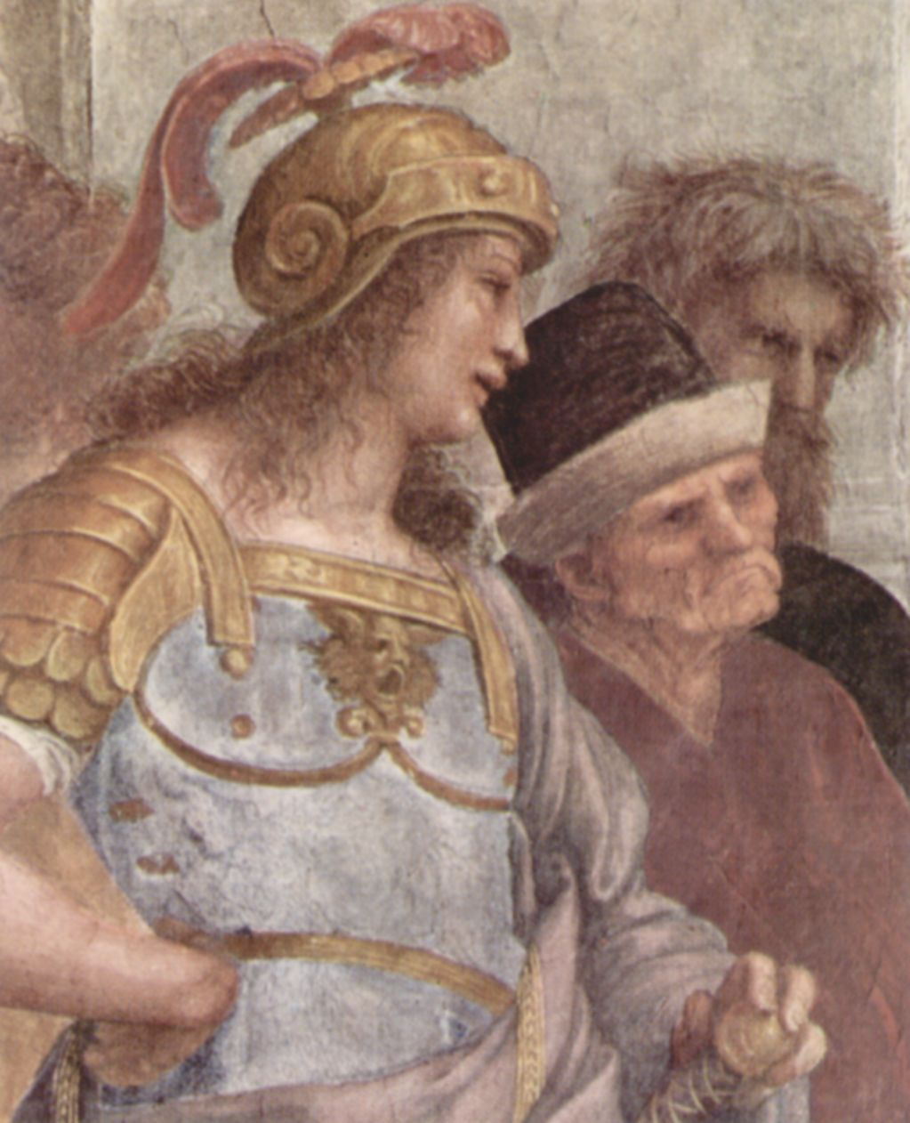 """The stanza della senyatura. The fresco """"the school of Athens"""". Snippet: Alexander the Great (Alcibiades) and Xenophon (Antisthenes)"""