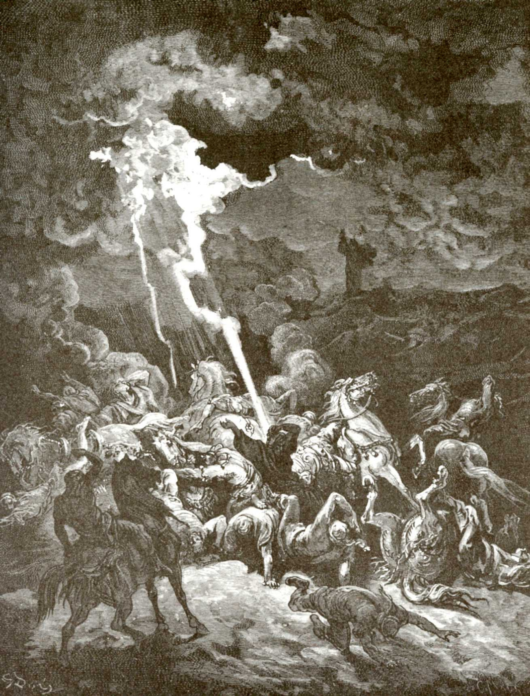 Paul Gustave Dore. Illustration to the Bible: the prophet Elijah causes fire from heaven