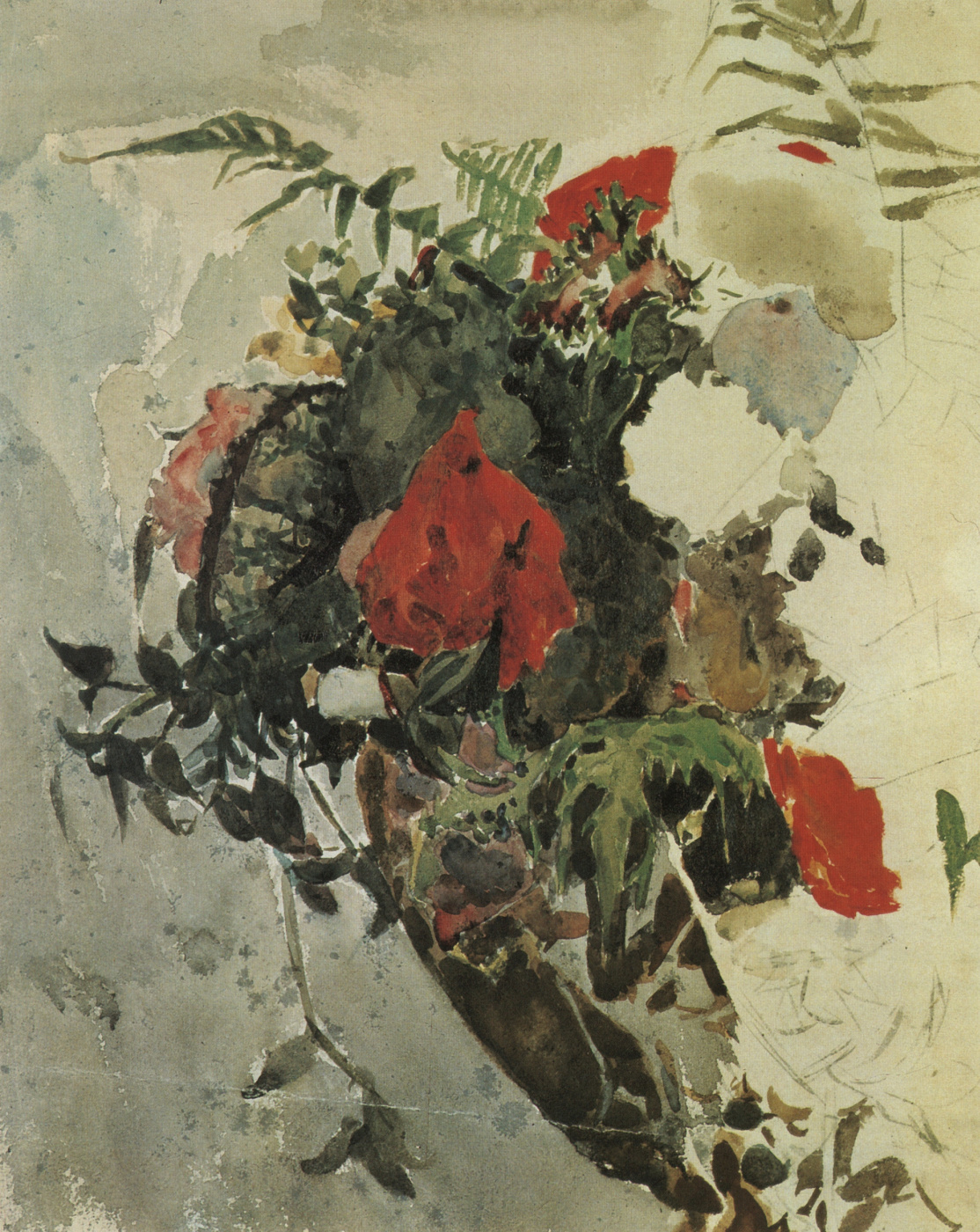 Mikhail Vrubel. Red flowers and leaves of begonia basket. Etude