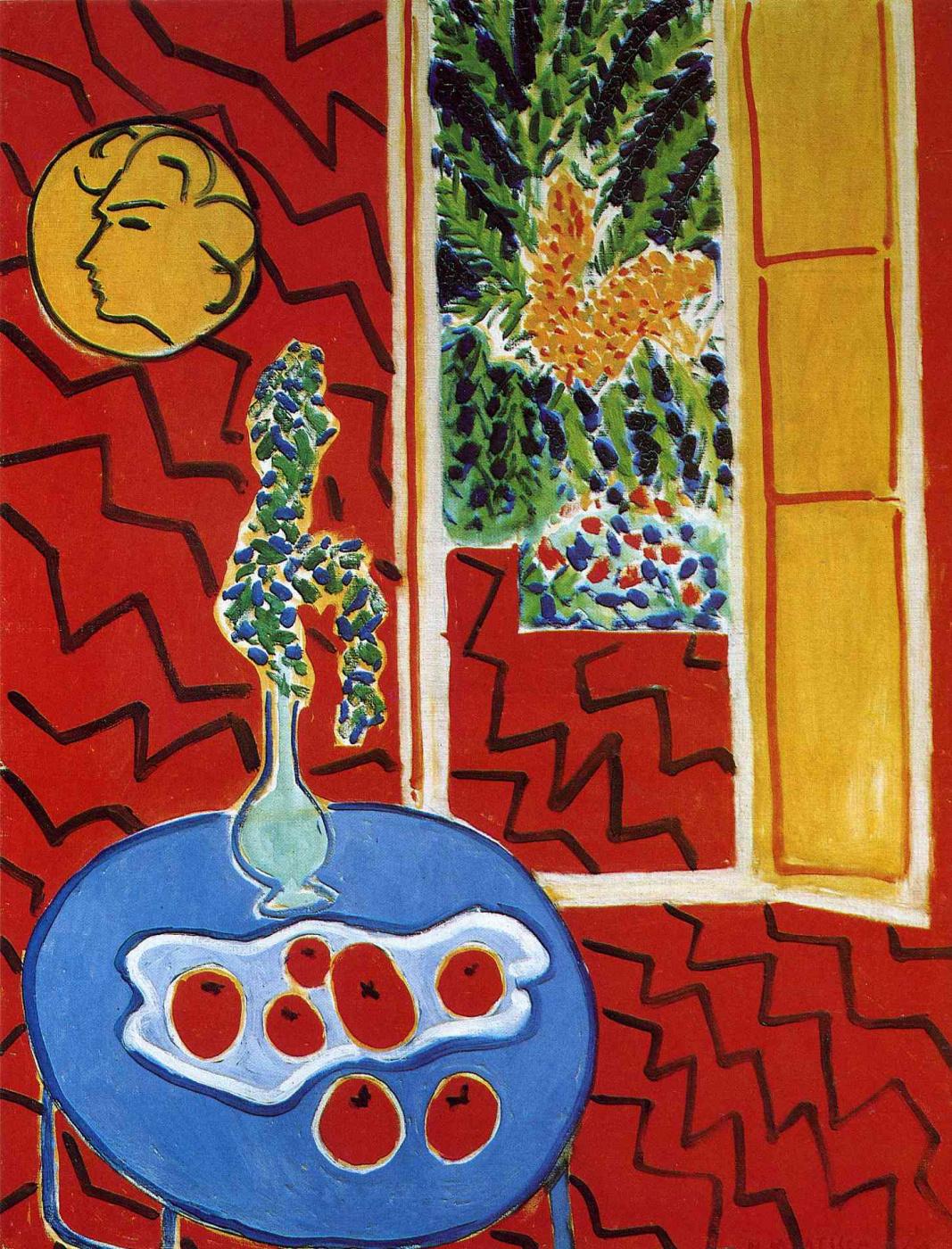 Henri Matisse. Red interior. Still life on a blue table