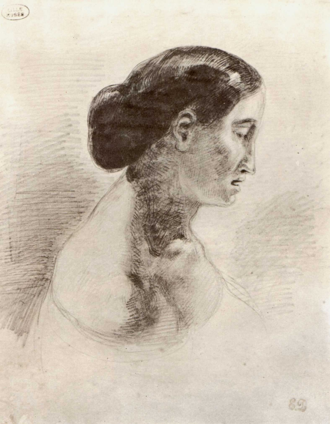 Eugene Delacroix. Portrait of a lady in profile
