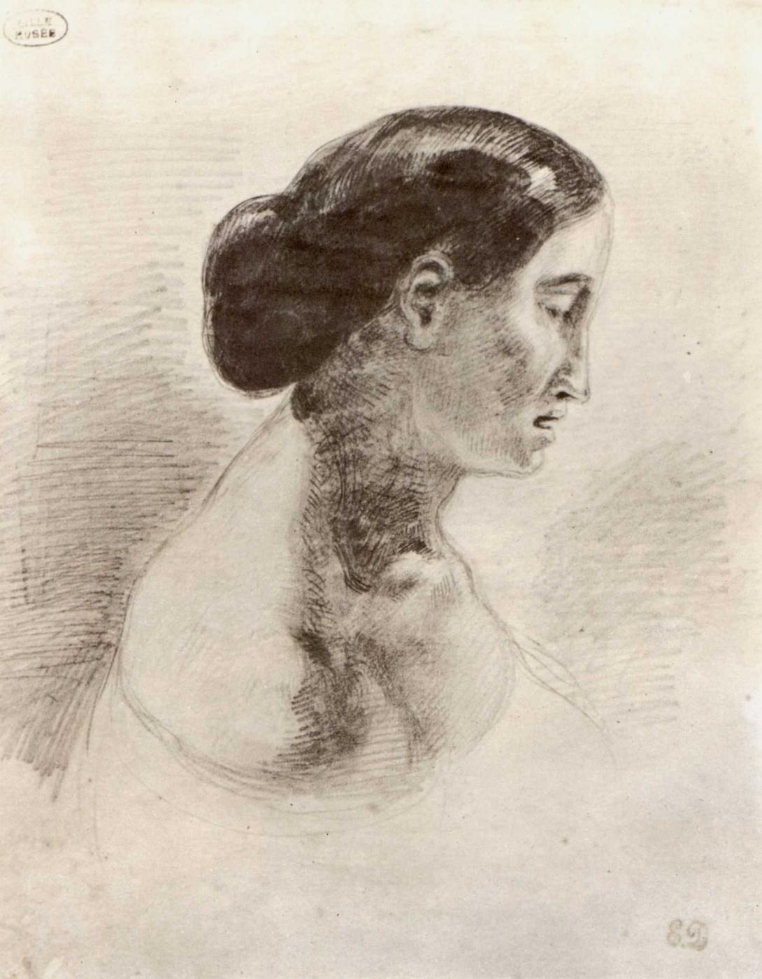 Eugene Delacroix. Portrait of a lady in profile