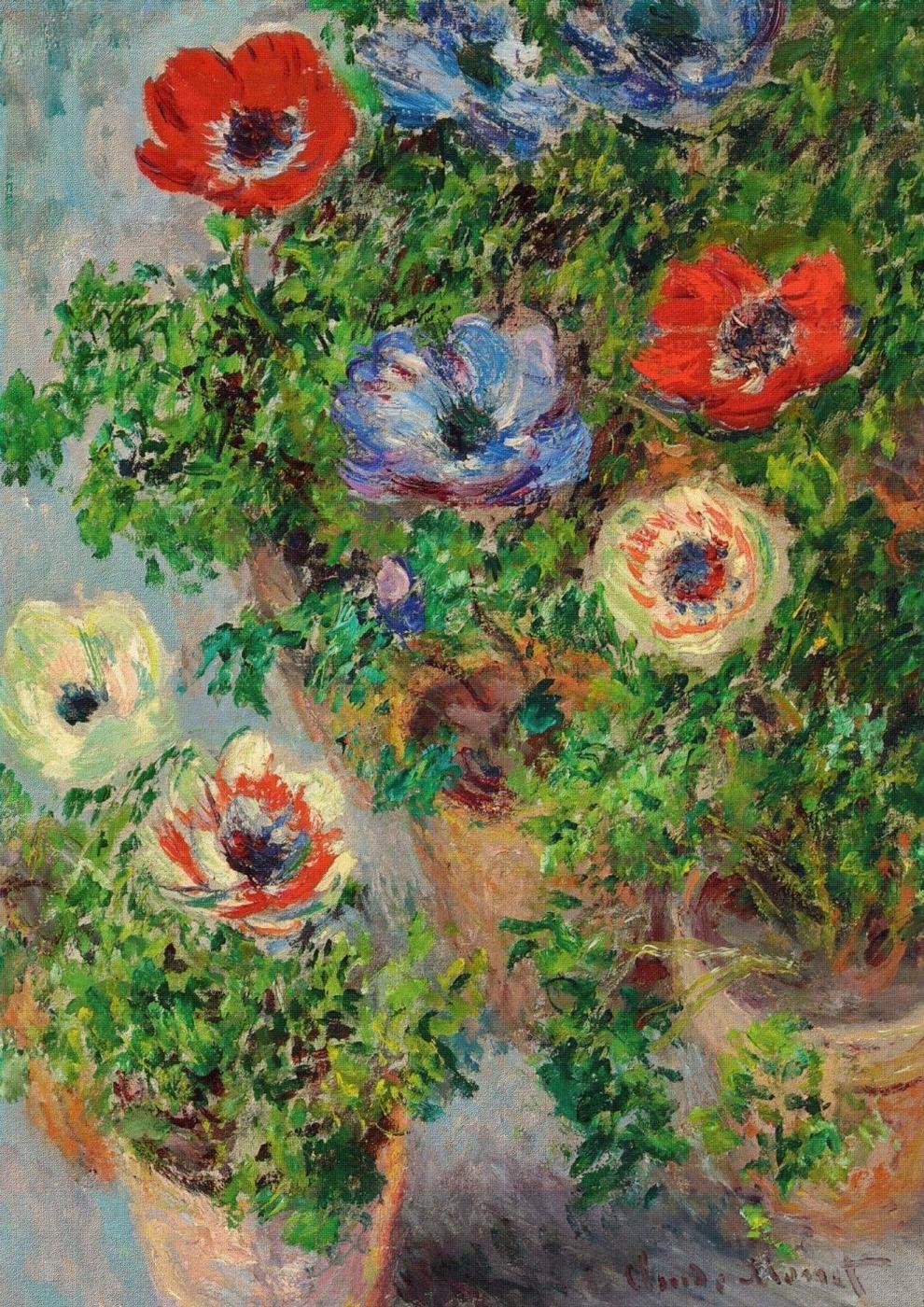 Claude Monet. Anemones in pots