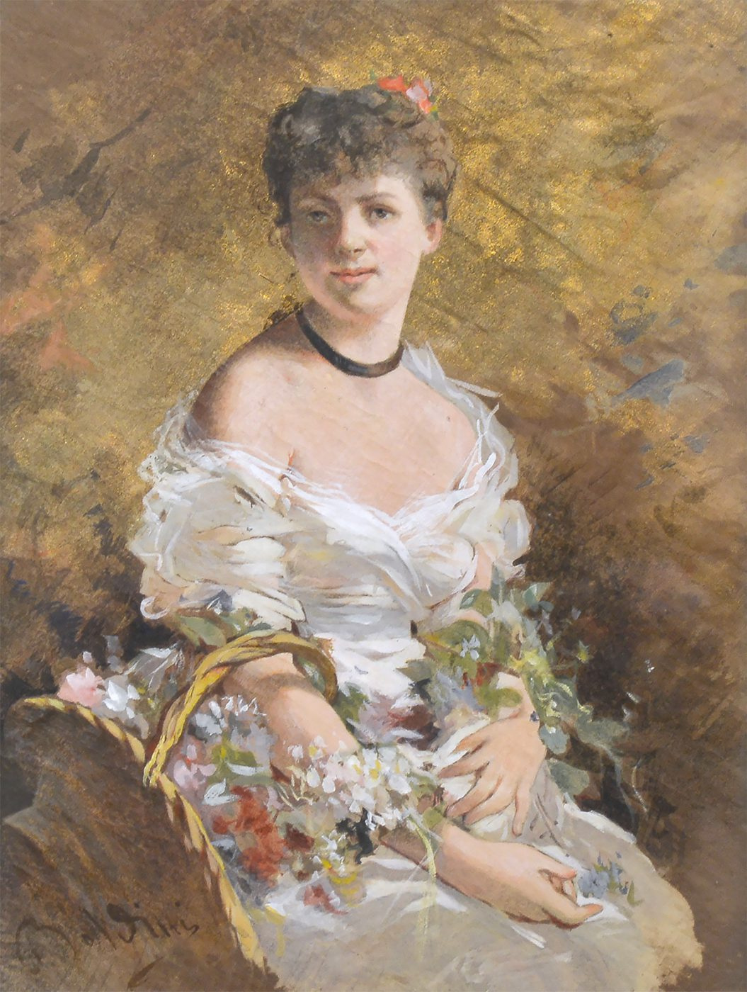 Giovanni Boldini. Portrait of a girl with flowers