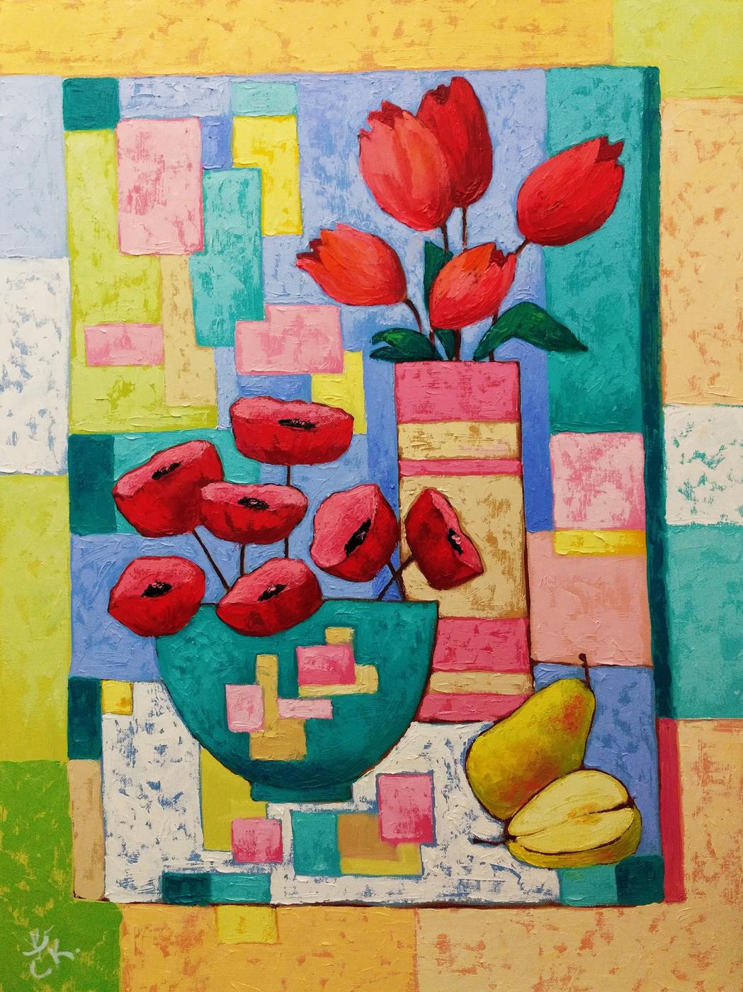 Svetlana Konstantinova. Still life with poppies and tulips