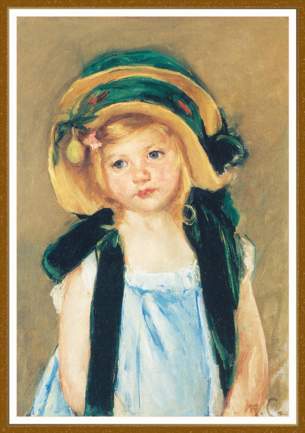 Mary Cassatt. Sara in a large green hat