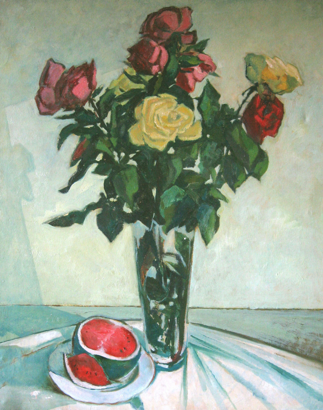 Александр Викторович Беляков. Still life with roses and watermelon