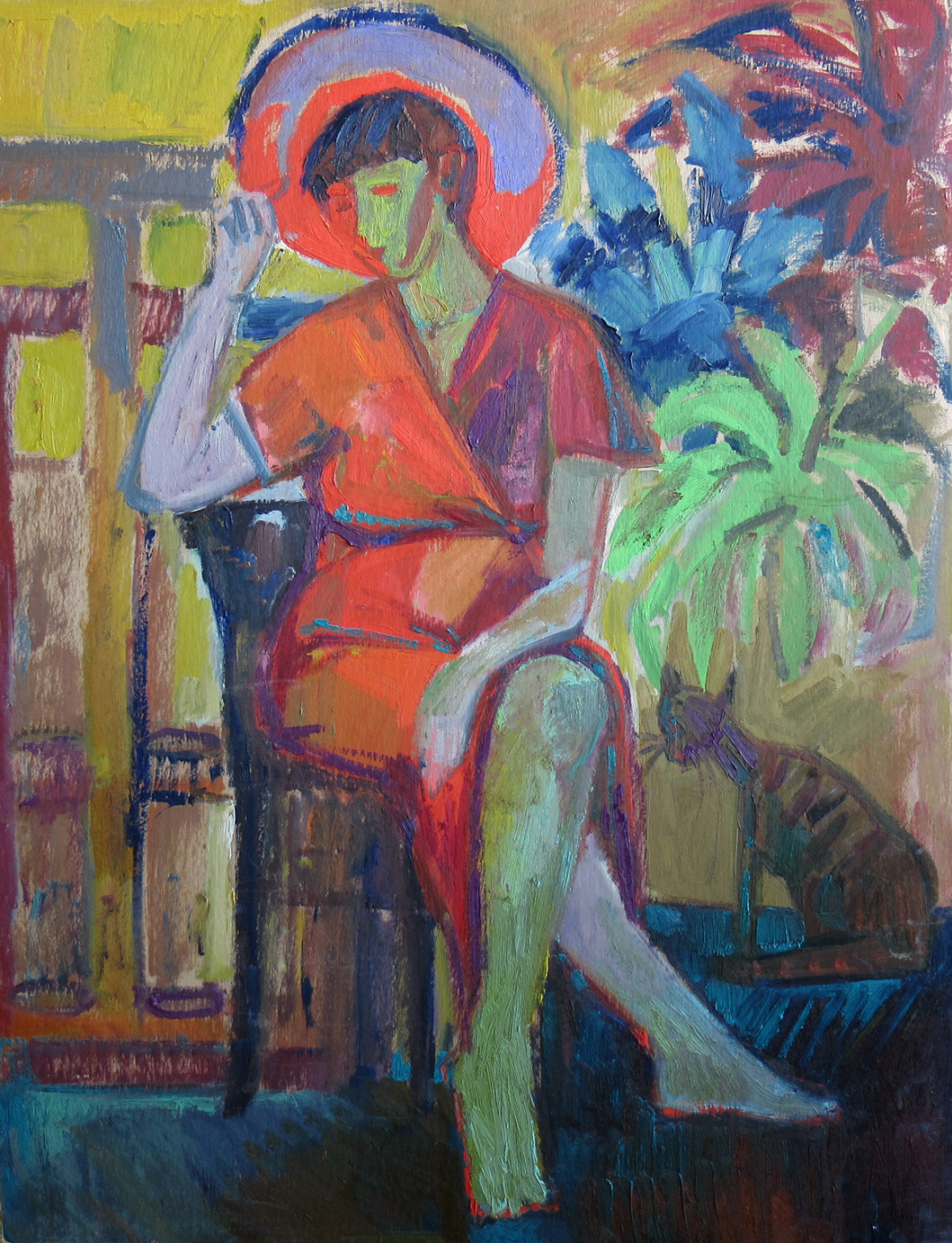 """Ekaterina Konstantinovna Krestyaninova. The girl in the red hat. (On the back of the picture: """"Two Nudes."""""""