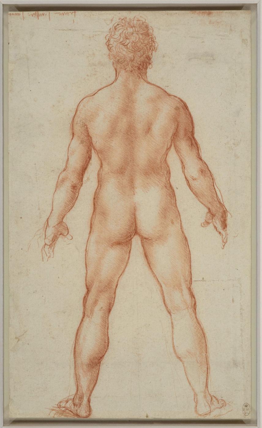 Леонардо да Винчи. Рисунок стоящего обнаженного мужчины
