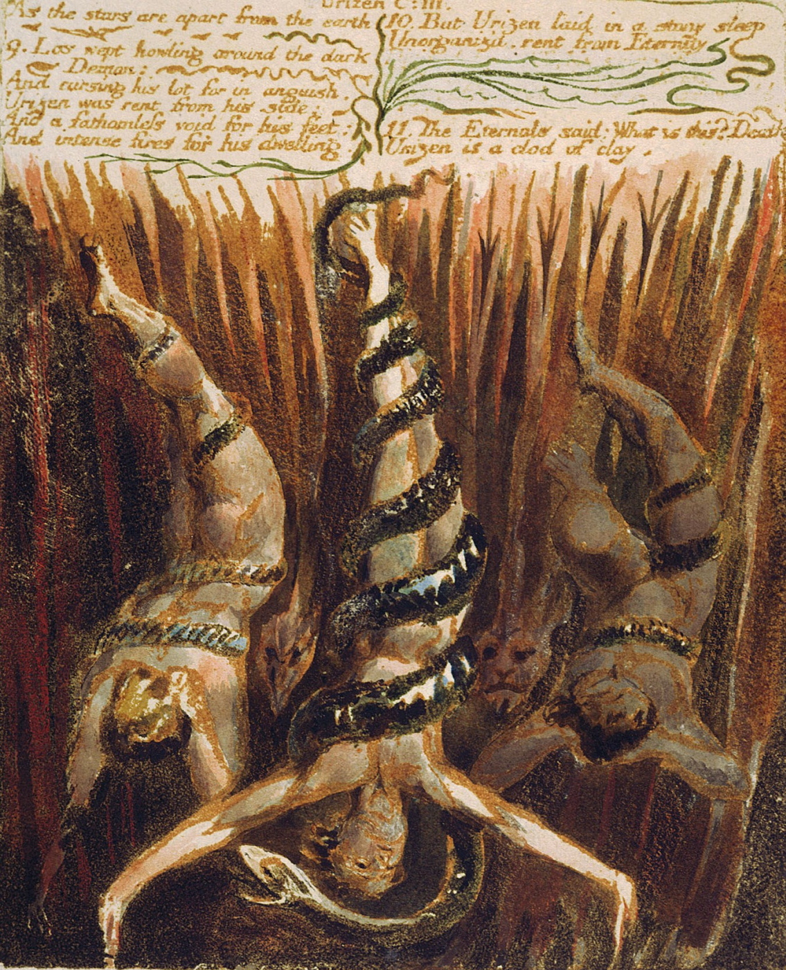 William Blake. The first book Urizen. The figures, wrapped in snakes