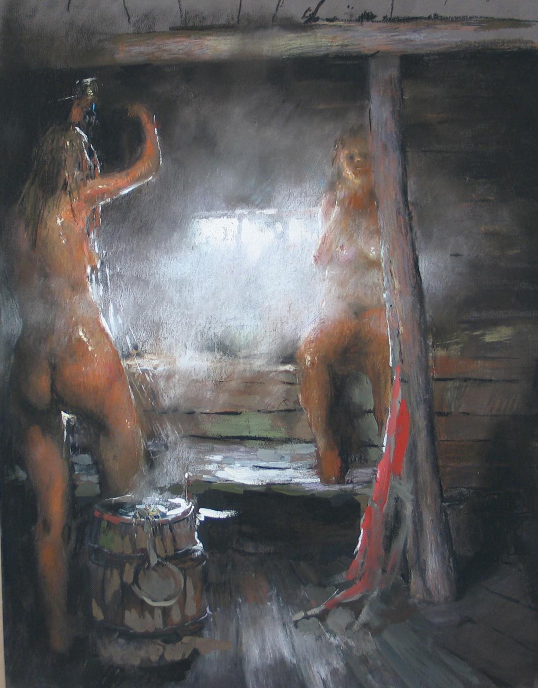 денис в женской бане дрочит лизал