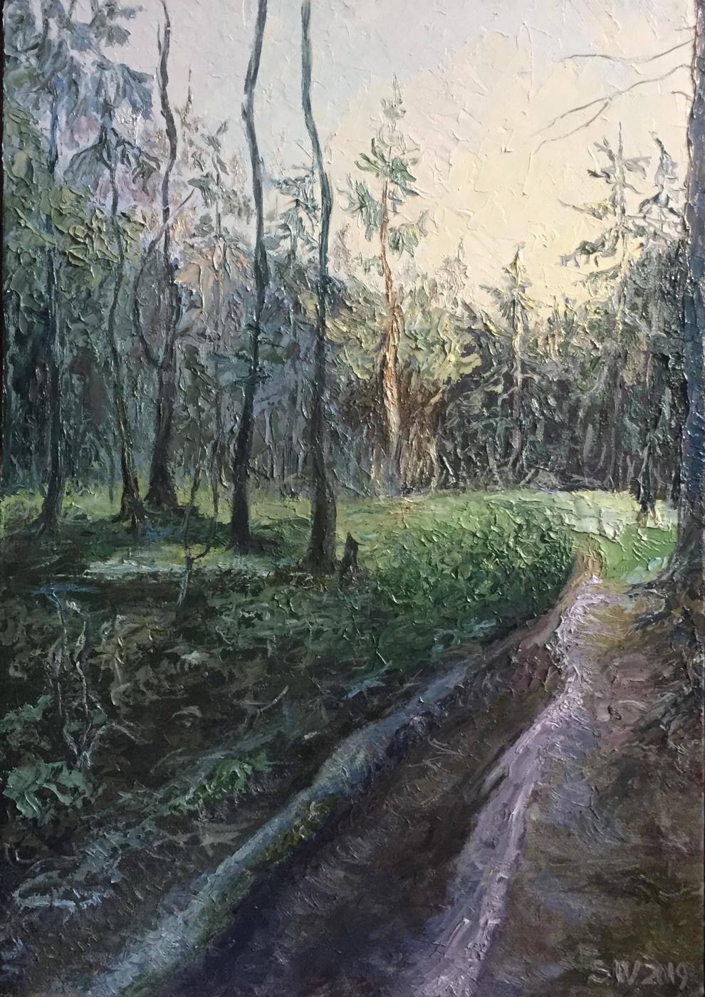 "Sophia Vinogradova. The painting ""Silence"" (oil on canvas trees sky forest path light sun evening silence green purple evening mood summer)"