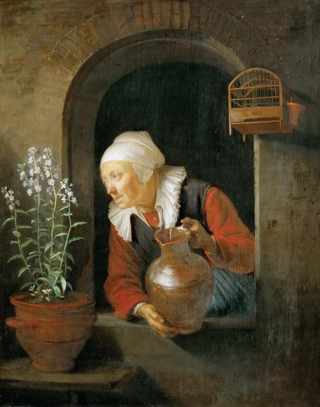 Gerrit (Gerard) Dow. The old woman in the window, watering flowers