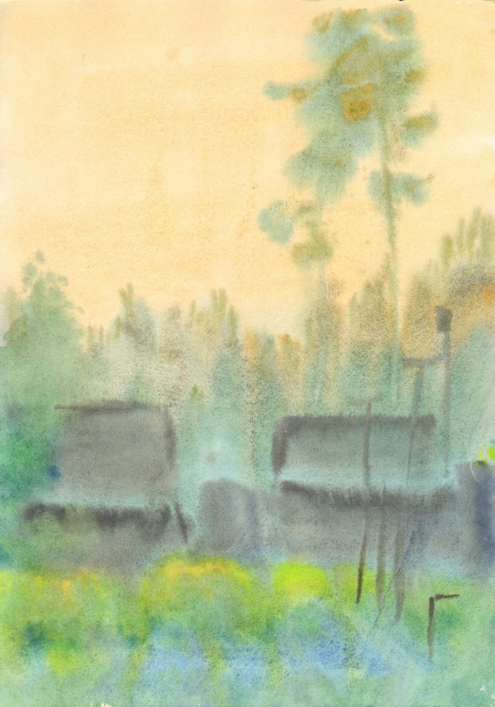 Вячеслав Крыжановский. Pines behind the sheds. Evening