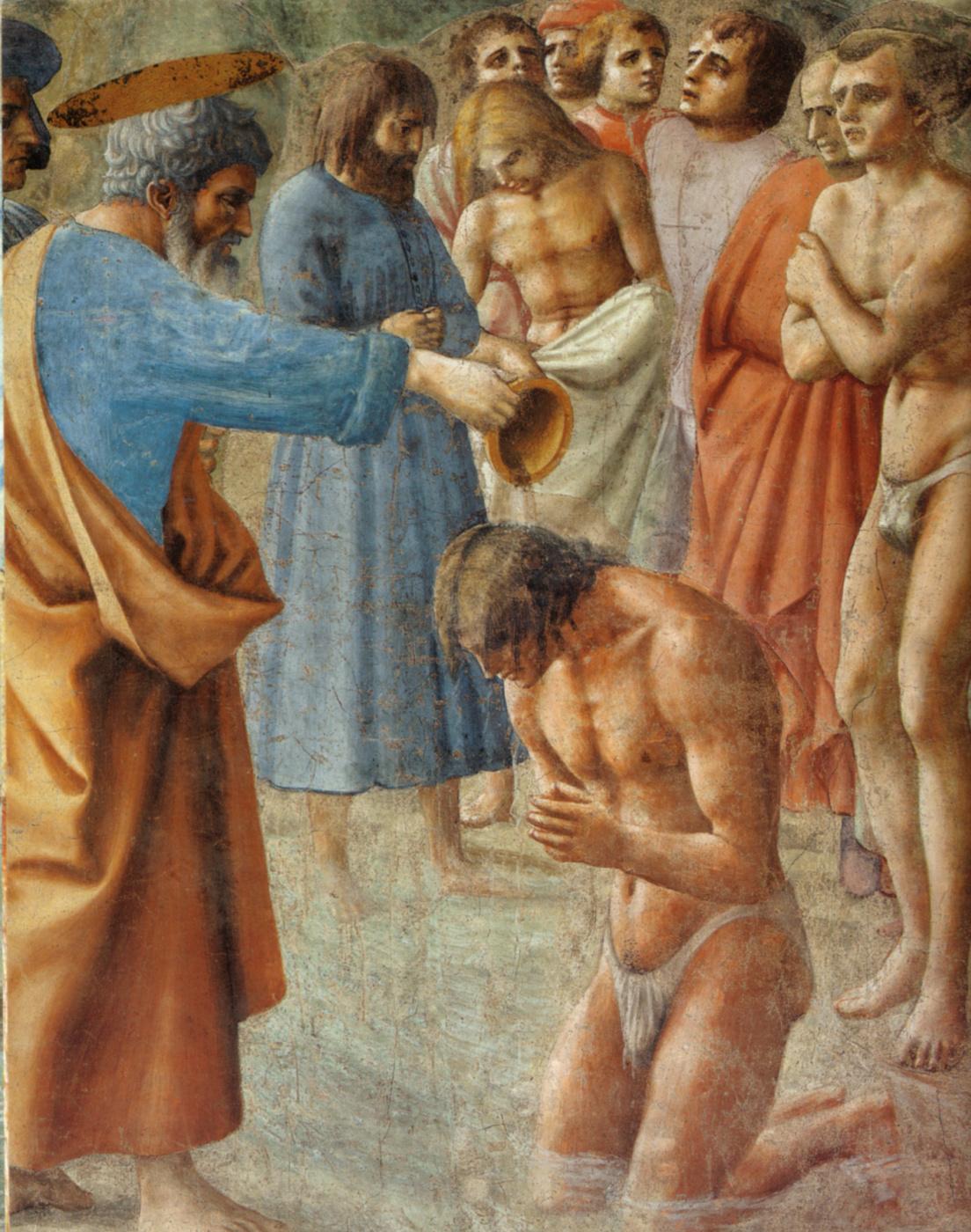 Tommaso Masaccio. Brancacci Chapel. Neophyte baptism