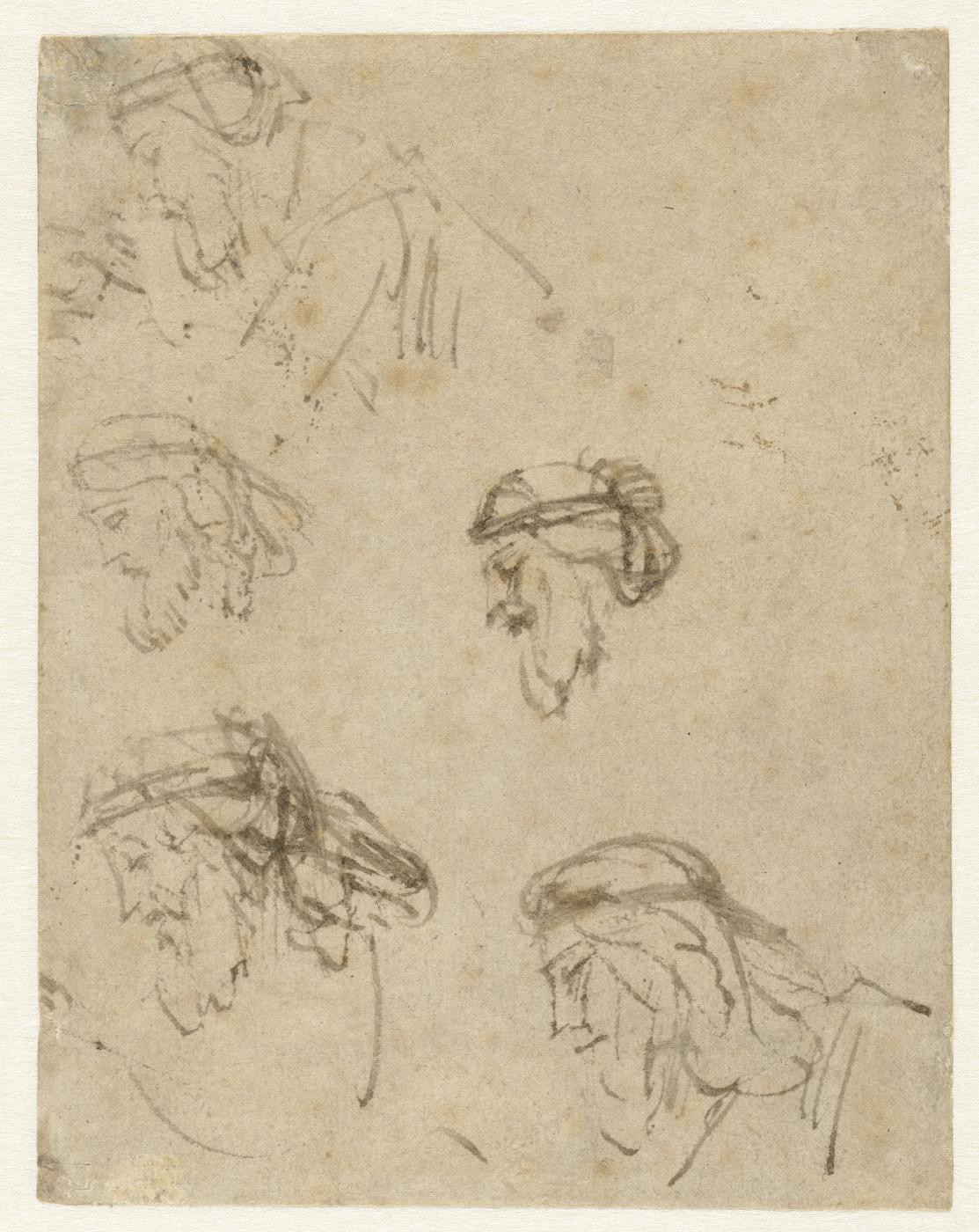 Rembrandt Harmenszoon van Rijn. Five Studies of Haman's Head in Profile