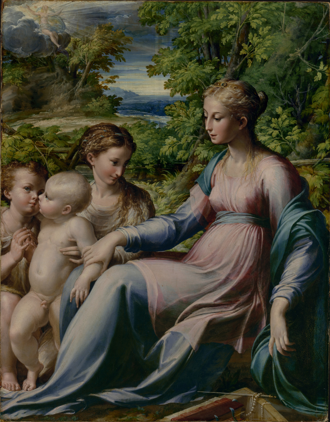 Francesco Parmigianino. The virgin and child with saints John the Baptist and Mary Magdalene