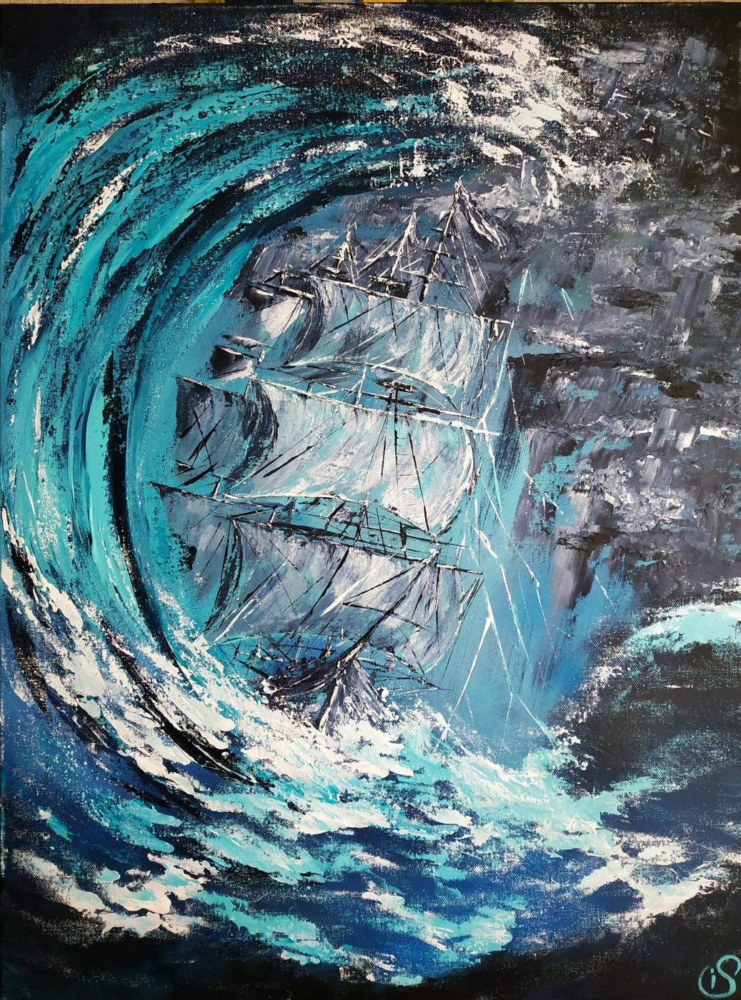 Irina Stukaneva. A big wave