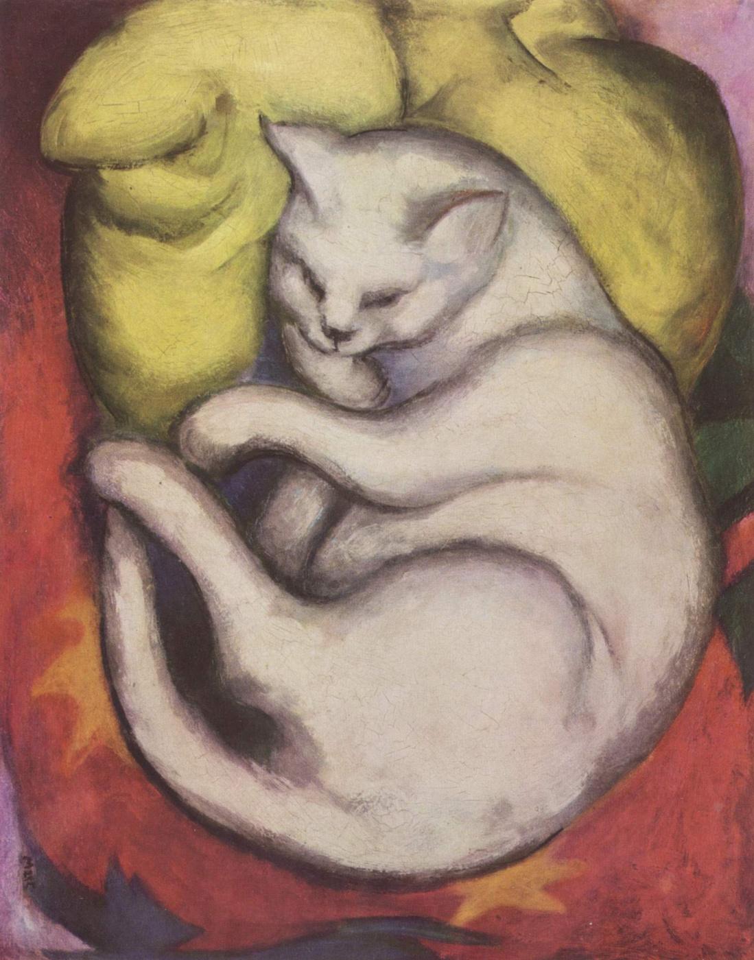 Franz Marc. Cat on a yellow pillow