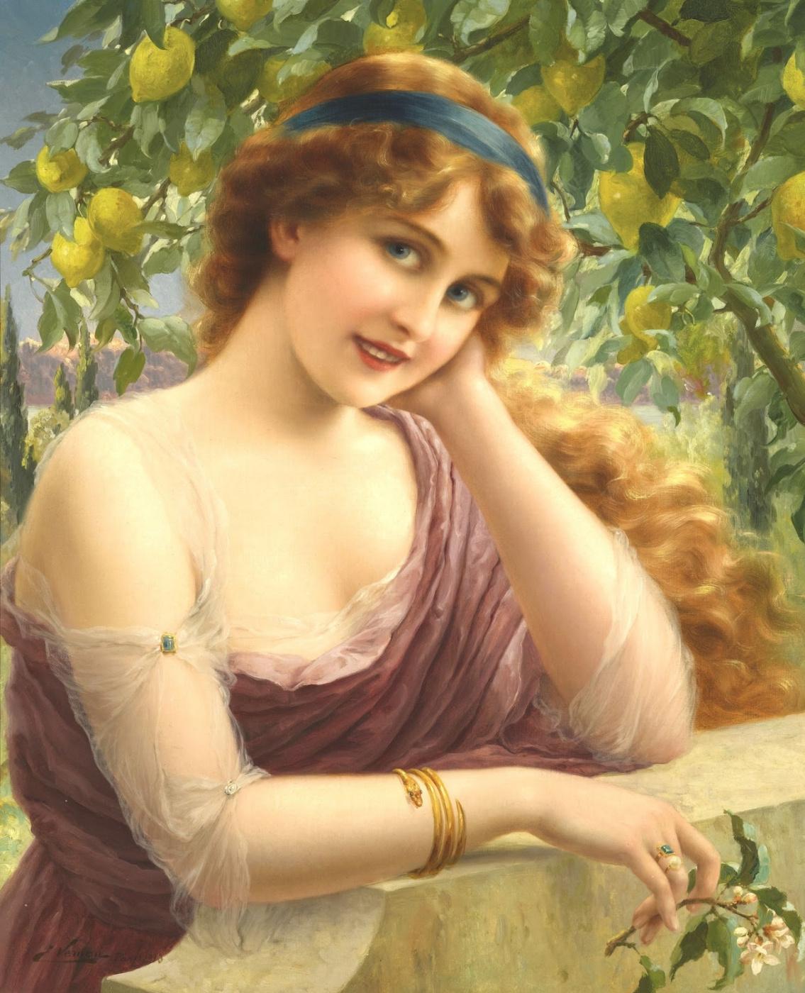 Emile Vernon. Beauty at the lemon tree. 1913
