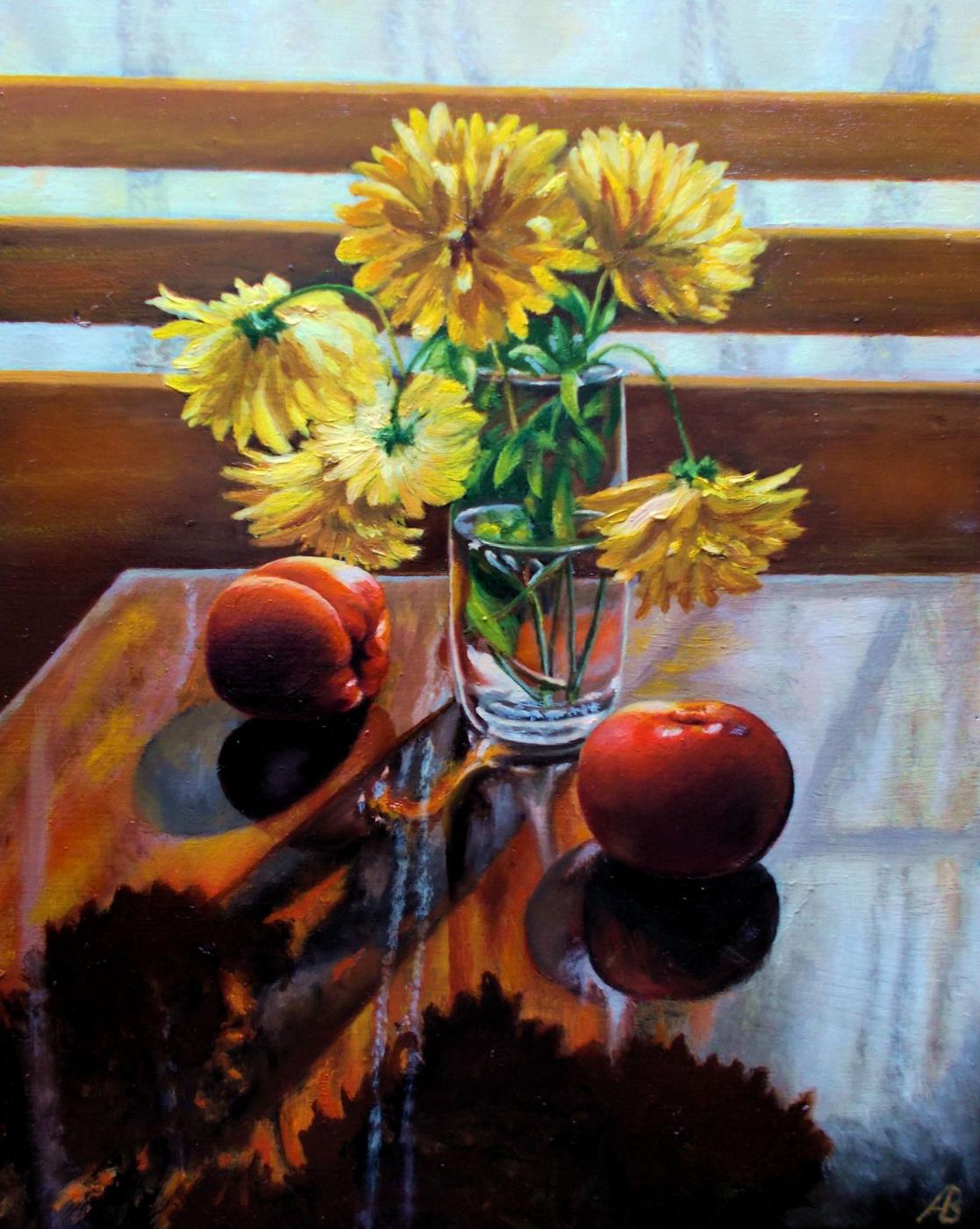 Vladimir Vasilyevich Abaimov. The Still-life with golden Balls and Tomatoes